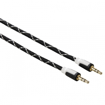 Audio-Kabel, 3,5-mm-St. - 3,5-mm-St., Stereo, Gewebe, vergoldet, 1,0 m